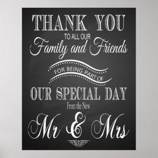 Gracias que el boda firma adentro la pizarra - póster