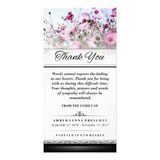 Gracias que las palabras rosadas del campo de flor tarjetas con fotos personalizadas