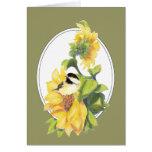 Gracias que saludan el Chickadee y el girasol de l Felicitación