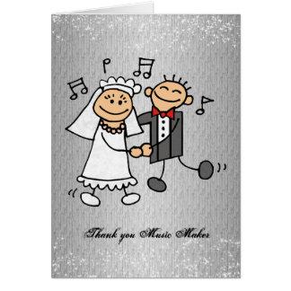 Gracias recepción nupcial de la música tarjetón