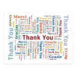 Gracias redactar la nube en 5 idiomas postal