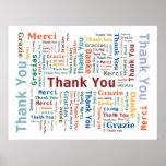 Gracias redactar la nube en 5 idiomas - póster
