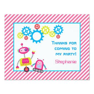 """Gracias refrescan rosa de los robots invitación 4.25"""" x 5.5"""""""
