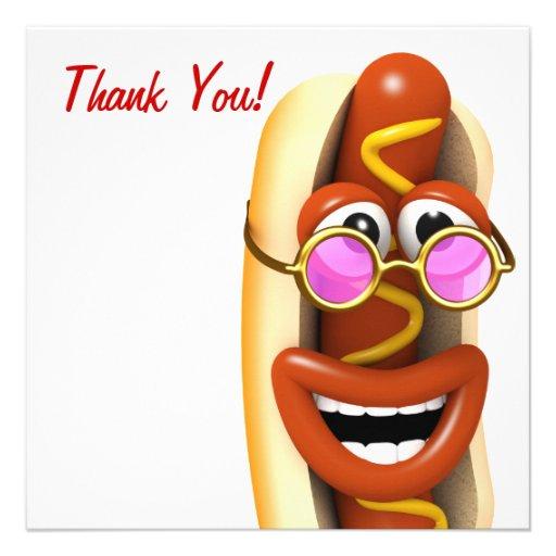 ¡Gracias! Refresque el perrito caliente del hippy Invitaciones Personalizada