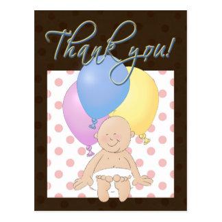 Gracias regalo del bebé. Bebé y globos del dibujo Tarjeta Postal
