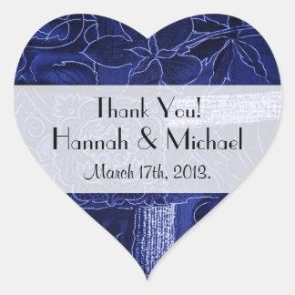 Gracias - remiendo, flores, remolinos - azul pegatina en forma de corazón