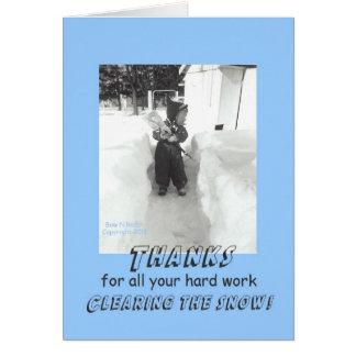 Gracias retras divertidas por retirada de la nieve tarjeta de felicitación