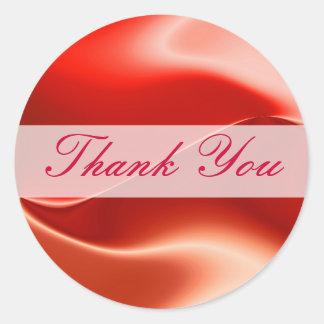 Gracias rojo pegatina redonda