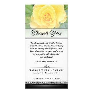 Gracias rosa amarillo fúnebre que las palabras no tarjeta fotografica personalizada