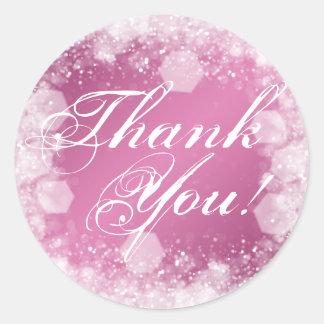 Gracias rosa de la chispa de la noche de la fiesta pegatina redonda