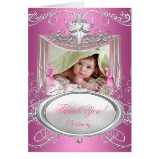 Gracias rosa del chica del bautismo del bautizo de tarjeta