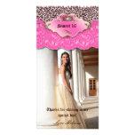 Gracias rosa del dulce 16 de la joya del cordón de tarjeta fotografica