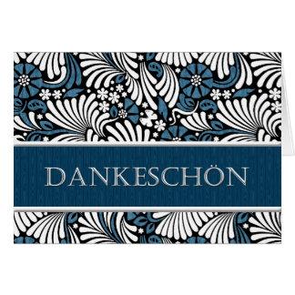 Gracias saludo formal alemán - azul y blanco tarjeta de felicitación