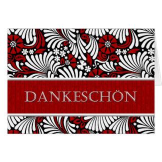 Gracias saludo formal alemán - rojo y blanco tarjeta de felicitación
