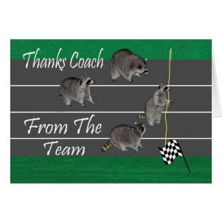 Gracias seguir la tarjeta de felicitación del coch