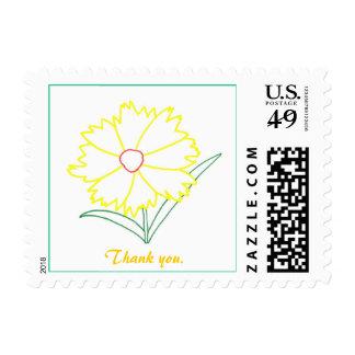Gracias sella con la flor amarilla del Coreopsis Timbres Postales