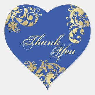 Gracias sellar - azul real y boda floral del oro pegatina de corazón