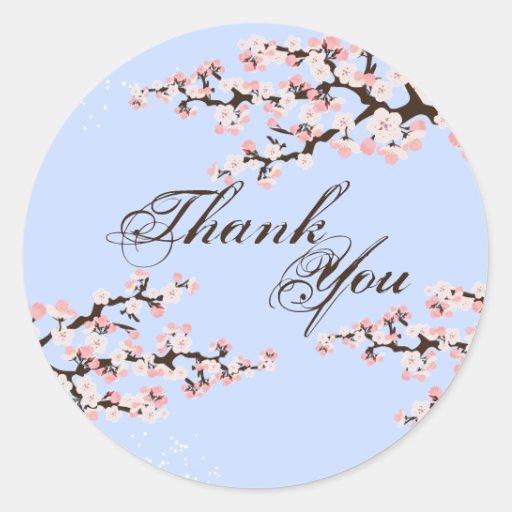 Gracias sellar - el boda azul de la flor de cerezo pegatina redonda