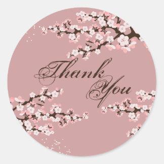 Gracias sellar - el boda color de rosa polvoriento pegatina redonda
