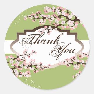 Gracias sellar - el boda de la flor de cerezo de pegatinas redondas