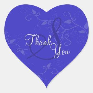 Gracias sellar - el boda del monograma del azul pegatina en forma de corazón