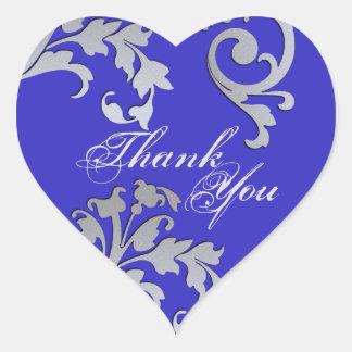 Gracias sellar - el boda floral azul y de plata pegatina en forma de corazón
