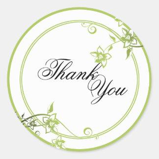 Gracias sellar - el boda floral verde y blanco pegatina redonda