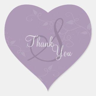 Gracias sellar - el boda púrpura del monograma de pegatina en forma de corazón