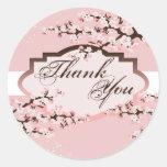 Gracias sellar - el boda rosado de la flor de pegatina redonda