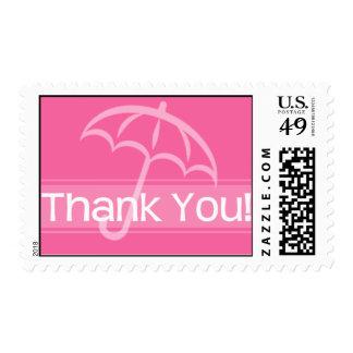 Gracias sellar el paraguas rosado franqueo