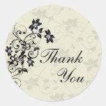 Gracias sellar - floral blanco y negro pegatinas redondas