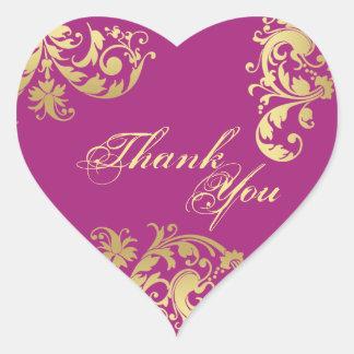 Gracias sellar - Fuschia y boda floral del oro Pegatinas Corazon Personalizadas