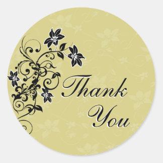Gracias sellar - negro y oro florales pegatina redonda