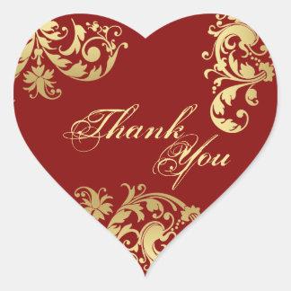 Gracias sellar - rojo y boda floral del oro pegatinas corazon