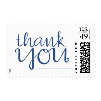 Gracias sello azul cursivo