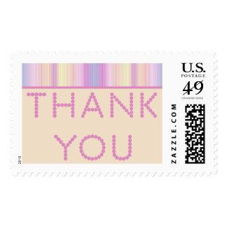 Gracias sello grande en colores pastel rayado