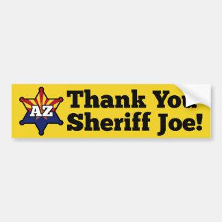 ¡Gracias sheriff Joe! Pegatina De Parachoque