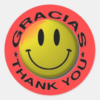Gracias Smiley Thank You Classic Round Sticker