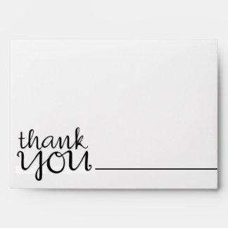 Gracias sobre cursivo de la tarjeta de nota del ne