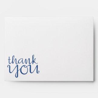 Gracias sobre cursivo de la tarjeta del azul A7
