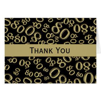 Gracias sobre el 80.o tema del cumpleaños de la tarjeta pequeña