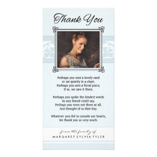 Gracias tarjeta azul clara y blanca conmemorativa tarjeta personal