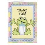 Gracias tarjeta de felicitación de la rana del beb