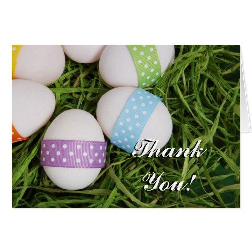 Gracias tarjeta de felicitación de los huevos de P