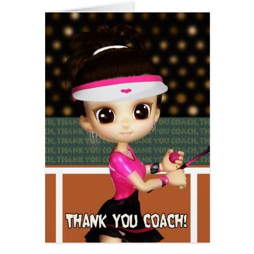 Gracias tarjeta de felicitación del coche de tenis