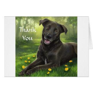 Gracias tarjeta de felicitación negra del labrador