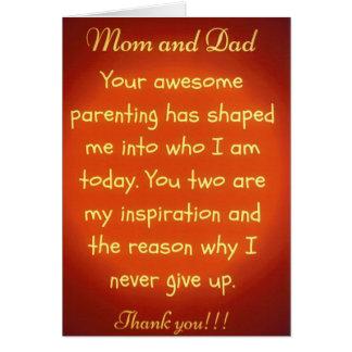 Gracias tarjeta de felicitación por mamá y papá