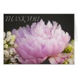 Gracias tarjeta de felicitación rosada del Peony