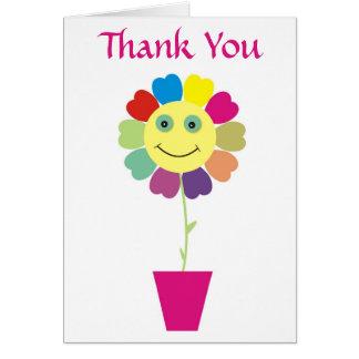 Gracias tarjeta de felicitación sonriente del gira