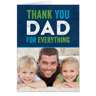 Gracias tarjeta de la foto del día de padres del p